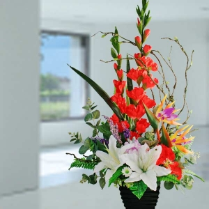 Artificial Red Gladiolus & White Lilies Arrangement