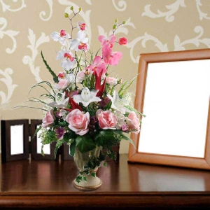 Artificial Orchids, Lilies & Roses table Arrangement