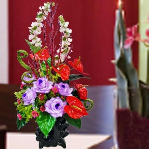 Purple Roses & Red Anthurium Table Arrangement
