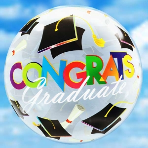 Add-On 22 Inch Helium Filled Round (Grad Hats) Floating Bubble Stretchy Ball