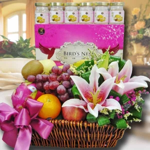 Flowers & Fruits Basket With 6 Bird's Nest-Halal