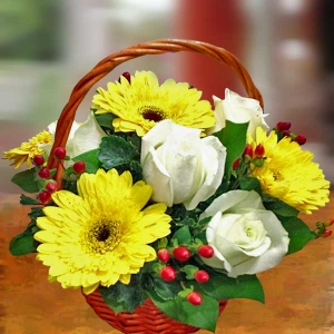 Yellow Gerbera & White Roses In Basket