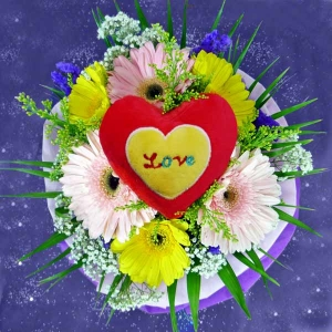 3 Pink 3 Yellow Gerberas with Heart-Shaped...