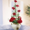Artificial Red Roses Table Arrangement