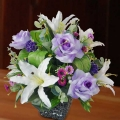 Artificial Lilies and Purple Roses Arrangement