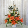 Artificial Orange Lilies and Champagne Roses Arrangement