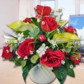 Artificial Lilies and Red Roses Arrangement