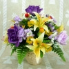 Artificial Yellow Lilies with Purple Roses Arrangement