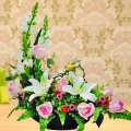 Artificial White Lilies & Pink Roses Table Arrangement