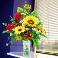 Artificial SunFlowers Table Arrangement In Glass Vase
