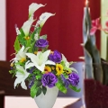 Artificial Purple Roses With White Lilies Flowers Table Arrangement