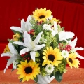 Artificial SunFlowers & Lilies Table Arrangement