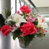Artificial Hot Pink Roses & White Lilies Table Arrangement
