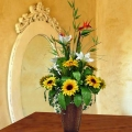 Artificial Birds of Paradise & Sunflowers Arrangement