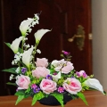 Artificial Calla Lilies & Pink Roses Table Arrangement Delivery.