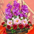 Artificial Peony & Orchids Flowers Arrangement