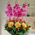 Artificial Hydrangeas & Phalaenopsis Orchid Flowers Arrangement