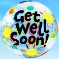 Add-On 22 Inches Helium Filled Round (Get Well) Floating Bubble Balloon