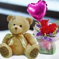 5 Inches Teddy Bear and a Heart-Shaped Balloon with 3 Roses Standing Bouquet.