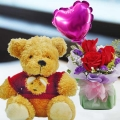 20cm Teddy Bear and a Heart-Shaped Balloon with 3 Roses Standing Bouquet.