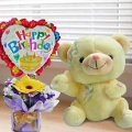30cm Bear and a Happy Birthday Balloon with Gerbera