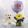 6 Inches Bear and a New Baby Boy Balloon with Yellow Gerbera...