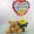 "6 ""Bear & Happy Birthday Balloon with Yellow Gerbera Standing Bouquet."