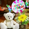 18cm Bear and a Happy Birthday Balloon with Yellow Gerbera Standing Bouq