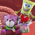 15cm Bear with 3 Red Roses