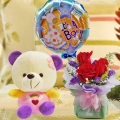 6 Inches Bear and (It is A Boy) Balloon with Roses Bouquet