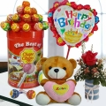 15cm Bear with Lollipop Candies With Rose & Birthday Balloon.