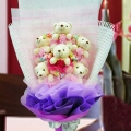 6 Mini Bear (10cm) With Mini Love Tags Hand Bouquet