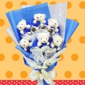 6 Mini Bear Bouquet With Silver Heart-Shape Tag