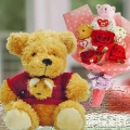 8 inches Bear & 3 Mini Bears With Artificial Roses Bouquet
