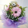 3 Pink Gerberas with Bear at center Handbouquet
