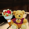 8 Inches Bear with Ice Cream Cone Rose Bouquet