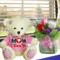 3 Roses standing bouquet With 18cm (MOM I love u) Bear