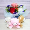 3 Roses with 3 Small Bears Standing Bouquet