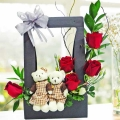 Mini Couple Bear & 5 Red Roses Arrangement in Hard Paper Container