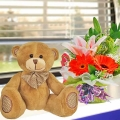 18cm Bear & Mixed Flowers Standing Bouquet