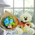 8 Inches Bear with 3 Blue Roses Hand Bouquet.