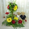 A Pair of 9 Inches Wedding Bears with Mixed Gerberas Arrangement