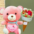 30cm Love Bear & Ice Cream Cone Rose Bouquet