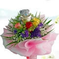 "3"" Bear (Me 2u) With Roses Posy"