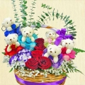 6 Mini Bears & 5 Roses Arrangement in Vase