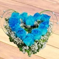 12 Blue Roses Heart-Shape Table Arrangement