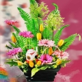 Artificial Gerbera & Fortune Cat Arrangement
