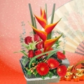 Heliconia & Red Roses Table Arrangement
