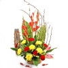 Red & Golden Flowers With Pussy Willow Table Arrangement