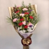 12 Mixed Carnation with Gold & White Pheonix Handbouquet